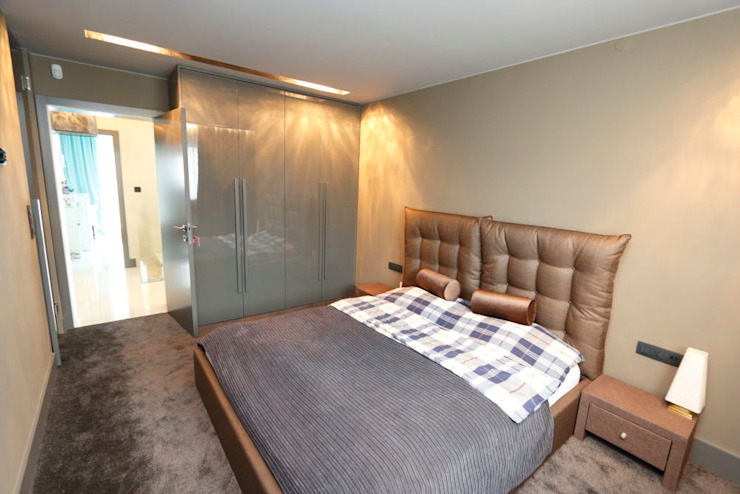 pudelko czekoladek Nowoczesna sypialnia od livinghome wnętrza Katarzyna Sybilska Nowoczesny