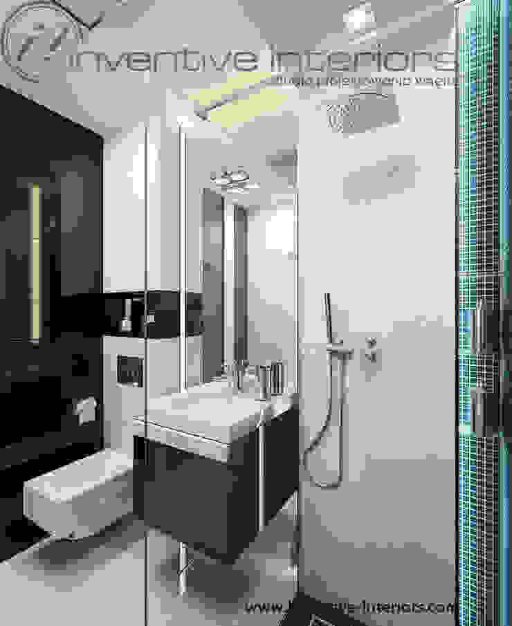 Biało czarna mała łazienka Nowoczesna łazienka od Inventive Interiors Nowoczesny