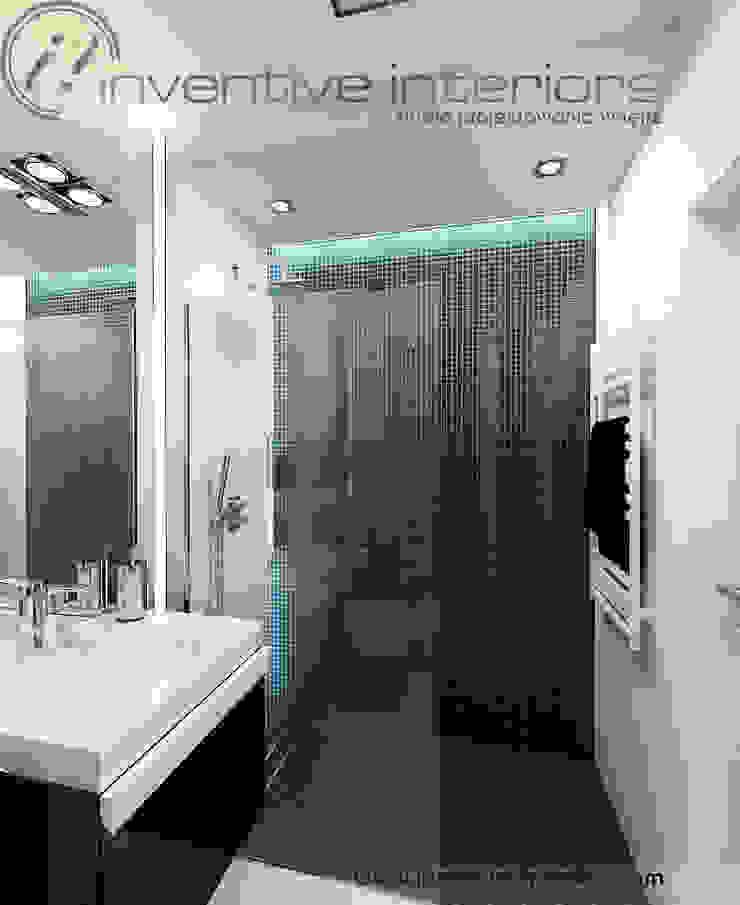 Biało czarna mała łazienka Minimalistyczna łazienka od Inventive Interiors Minimalistyczny