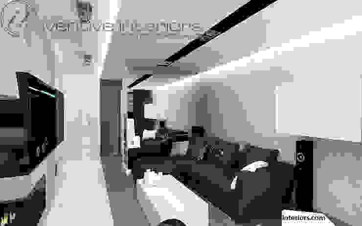 Czarna sofa w salonie Industrialny salon od Inventive Interiors Industrialny Beton