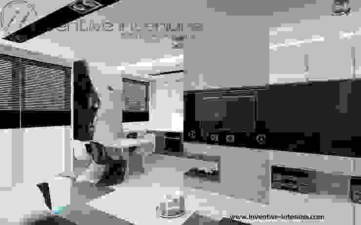 Biało czarna fototapeta Minimalistyczny salon od Inventive Interiors Minimalistyczny Beton