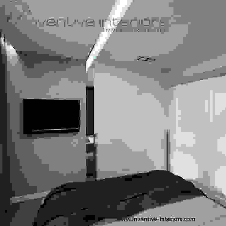 Beton w sypialni Minimalistyczna sypialnia od Inventive Interiors Minimalistyczny Beton