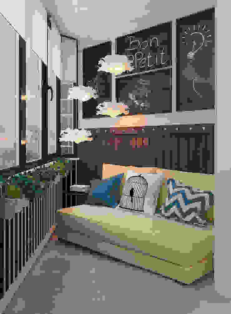 Визуализации проекта для семьи из г.Когалым Балкон и терраса в стиле минимализм от Alyona Musina Минимализм
