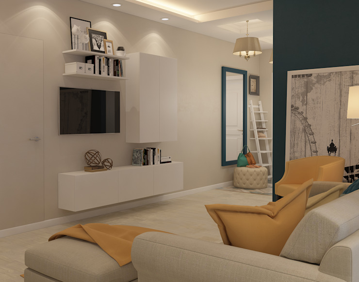 Визуализации проекта для семьи из г.Когалым Гостиная в стиле минимализм от Alyona Musina Минимализм
