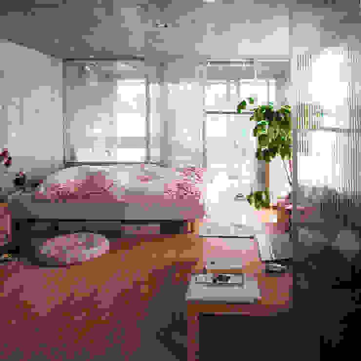 半透明の板塀で囲む住居 モダンスタイルの寝室 の ユミラ建築設計室 モダン