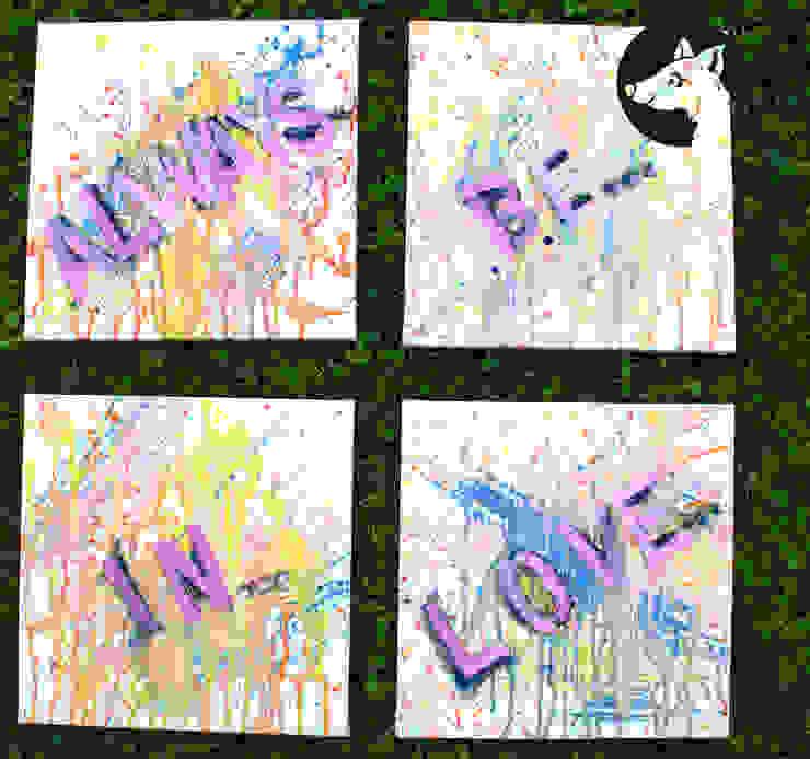 ALWAYS BE IN LOVE, Original, Acryl auf Leinwand: modern  von Little Walking Wolf,Modern