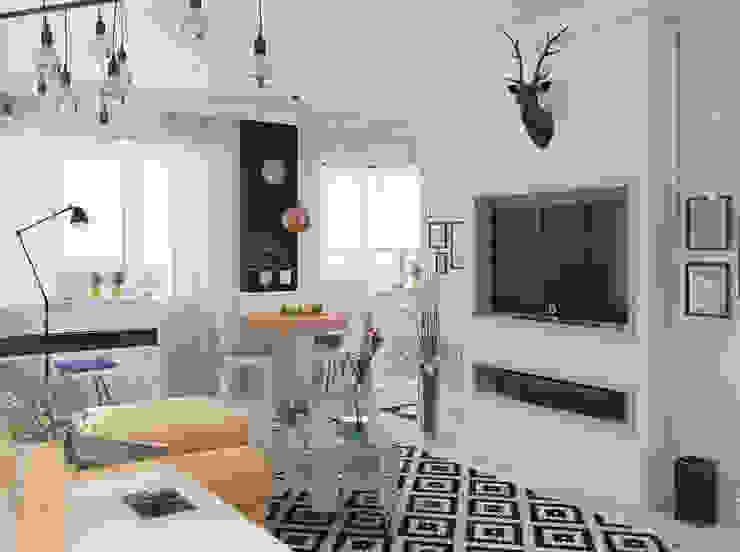 Визуализации Интерьера в скандинавском стиле Гостиная в скандинавском стиле от Alyona Musina Скандинавский