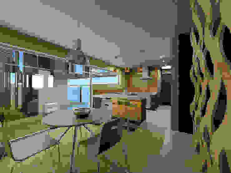 Casa Metepec Salones modernos de ARQUITECTURA SOSTENIBLE Moderno