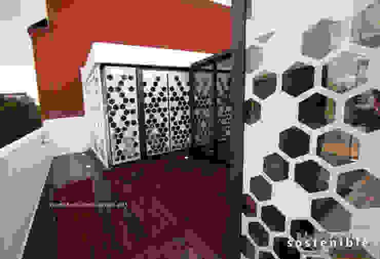 Departamento Colonia del Valle 2 Pasillos, vestíbulos y escaleras modernos de ARQUITECTURA SOSTENIBLE Moderno