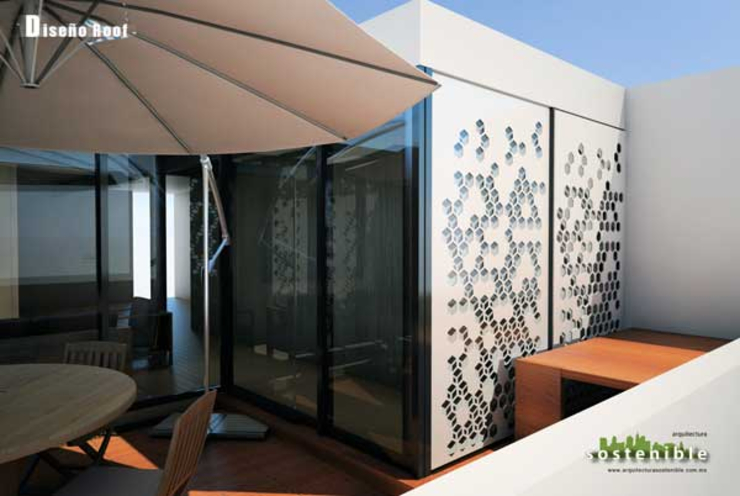 Departamento Colonia del Valle 2 Balcones y terrazas modernos de ARQUITECTURA SOSTENIBLE Moderno