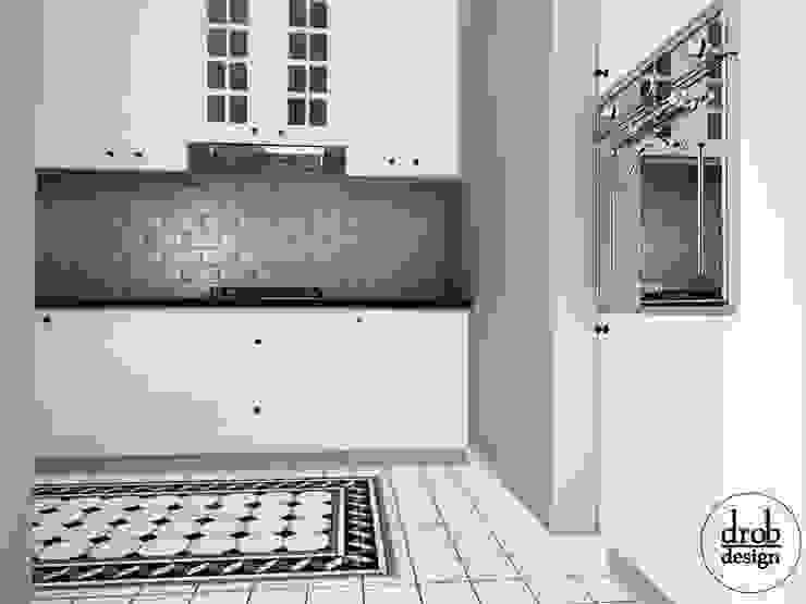 Kuchnia w stylu klasycznym - mieszkanie w Lublinie. Widok od strony Salonu Klasyczna kuchnia od Drob Design Klasyczny Ceramiczny