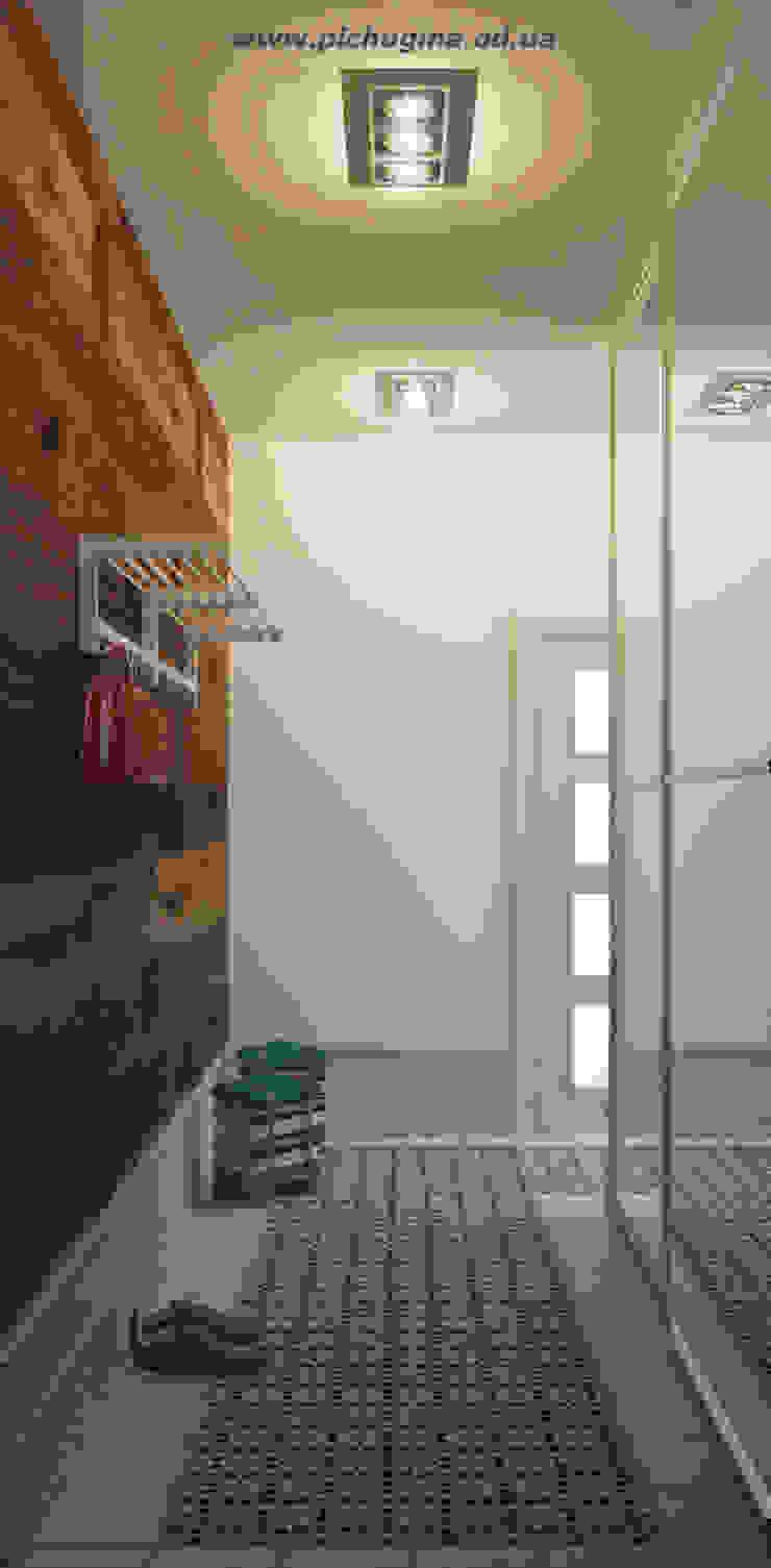 Квартира для молодой семьи Коридор, прихожая и лестница в скандинавском стиле от Tatyana Pichugina Design Скандинавский Дерево Эффект древесины