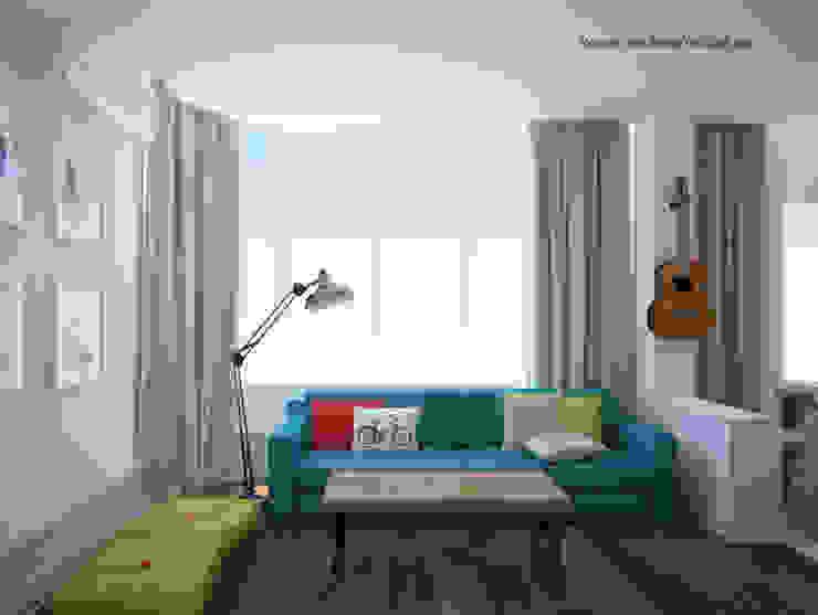Квартира для молодой семьи Гостиная в скандинавском стиле от Tatyana Pichugina Design Скандинавский