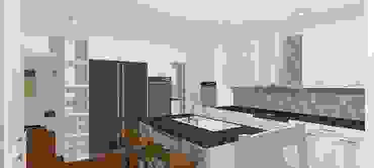 Casa Ladera – estilo escandinavo Cocinas de estilo escandinavo de A3D-Projection S.A.S. Escandinavo
