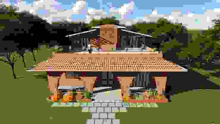 eco-friendly bunglow by Ar.Ankit Kankariya Country style houses by Kankariya Developers Country Bricks