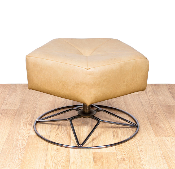 Retro Vinyl & Chrome Footstool Modern living room by RetroLicious Ltd Modern