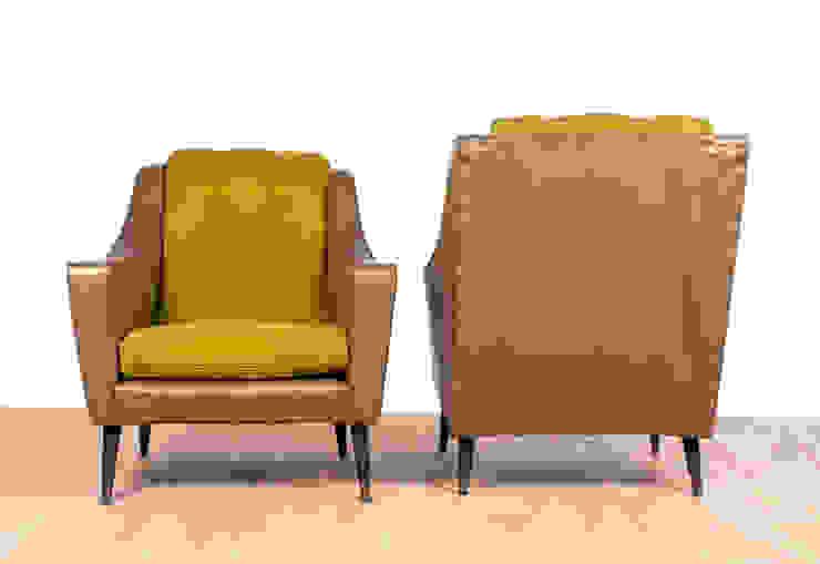 Retro Green and Olive Vinyl Armchairs Modern living room by RetroLicious Ltd Modern