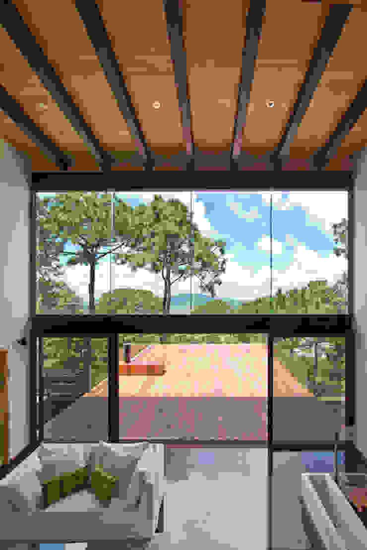 La casa en el bosque Balcones y terrazas modernos de EMA Espacio Multicultural de Arquitectura Moderno