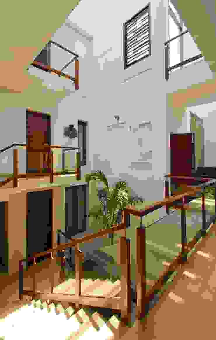 Sajeev kumar and family's Residence at Girugambakkam Modern corridor, hallway & stairs by Murali architects Modern