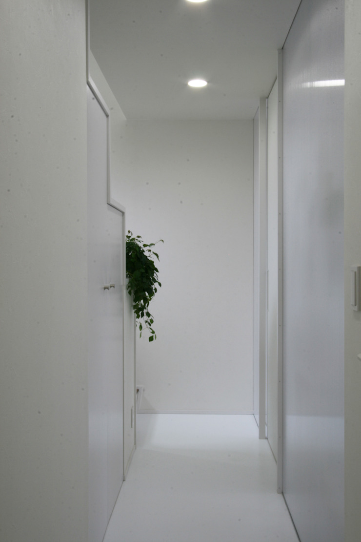 Modern corridor, hallway & stairs by 伊波一哉建築設計室 Modern Wood Wood effect