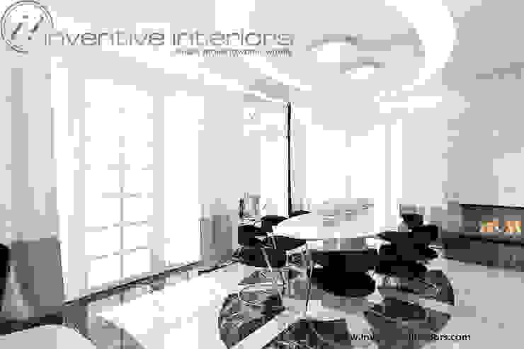 Lampy nad stołem Klasyczna jadalnia od Inventive Interiors Klasyczny Marmur