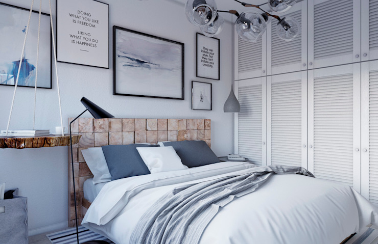 Scandinavian style bedroom by Elena Arsentyeva Scandinavian Wood Wood effect