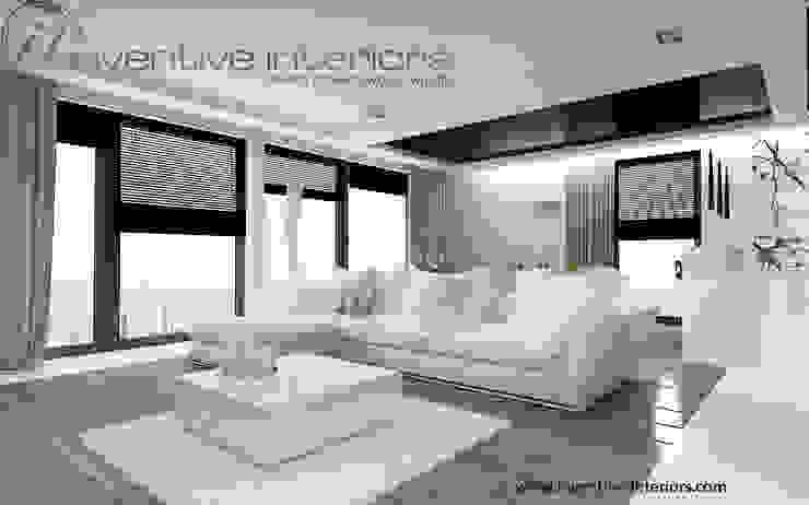 Biały narożnik w salonie Nowoczesny salon od Inventive Interiors Nowoczesny