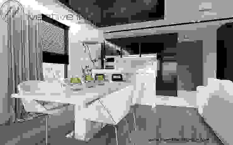 Biało czarna kuchnia Nowoczesna kuchnia od Inventive Interiors Nowoczesny Szkło