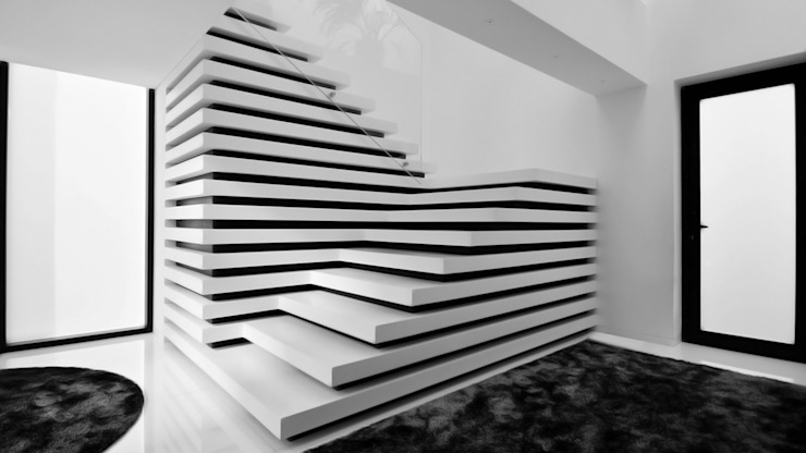 Minimalistische gangen, hallen & trappenhuizen van MUTANT architecture & design Minimalistisch