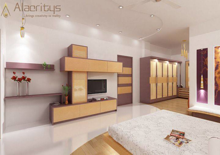 Unique style & colored bedroom design Modern Bedroom by homify Modern