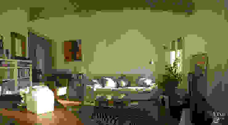 Vista general del salón. Salones de estilo mediterráneo de Etxe&Co Mediterráneo Ladrillos