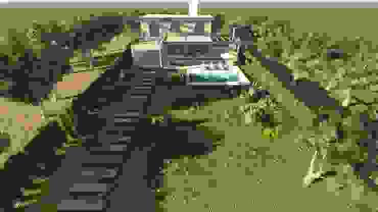 CASA MIRADOR DEL LAGO: Jardines de estilo  por MB Arquitectura.,Moderno