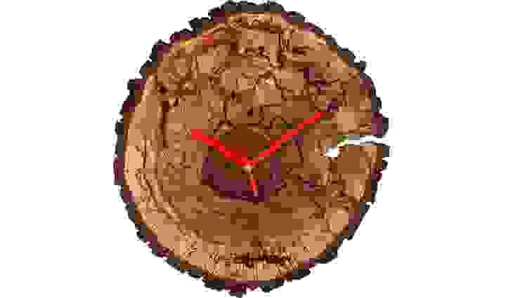 ZEGAR Z PLASTRA DREWNA: styl , w kategorii  zaprojektowany przez Altavola Design Sp. z o.o.,Rustykalny Drewno O efekcie drewna