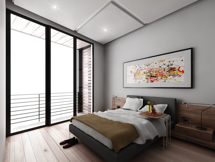 Recámara tipo Hoteles de estilo minimalista de Viztudio Minimalista