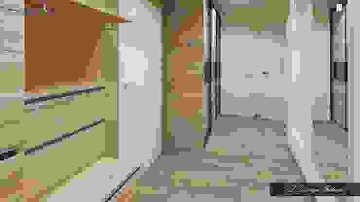 Минималистичная прихожая с намеком на лофт Коридор, прихожая и лестница в стиле лофт от vl design interior Лофт Дерево Эффект древесины