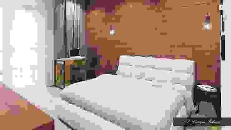 Минималистичная спальня с намеком на лофт Спальня в стиле лофт от vl design interior Лофт Дерево Эффект древесины