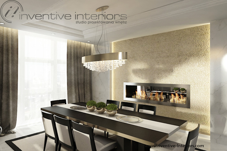 INVENTIVE INTERIORS – Projekt apartamentu ze złotem Klasyczna jadalnia od Inventive Interiors Klasyczny