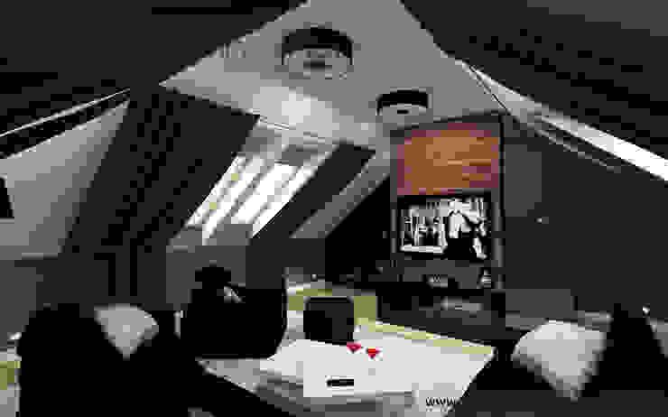 Pokój kinowy na poddaszu: styl , w kategorii Pokój multimedialny zaprojektowany przez Inventive Interiors,