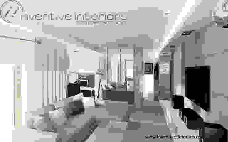 INVENTIVE INTERIORS - Męskie mieszkanie z betonem Industrialny salon od Inventive Interiors Industrialny Drewno O efekcie drewna