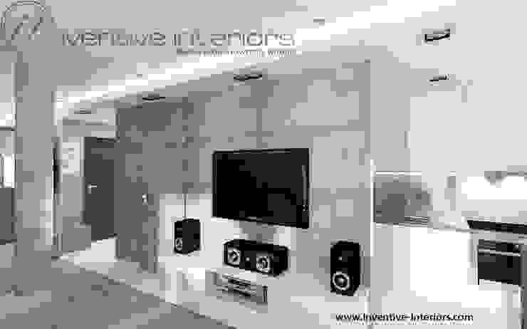 Beton w salonie Industrialny salon od Inventive Interiors Industrialny Beton
