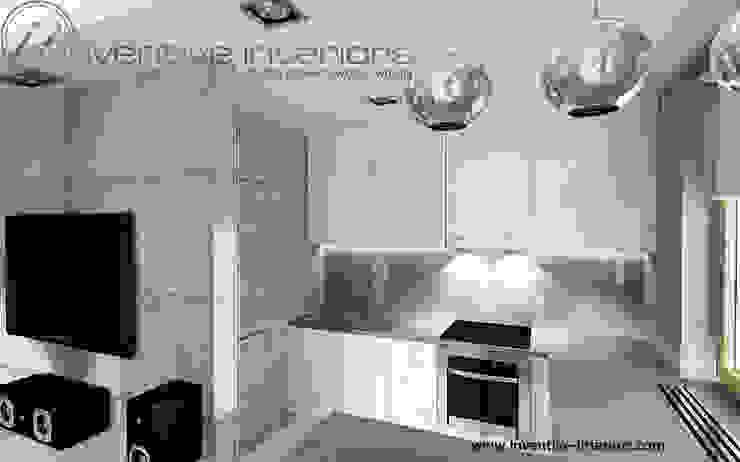 Biała kuchnia z szarym blatem Industrialna kuchnia od Inventive Interiors Industrialny Beton