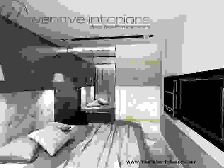 Czarna tapeta w sypialni Industrialna sypialnia od Inventive Interiors Industrialny