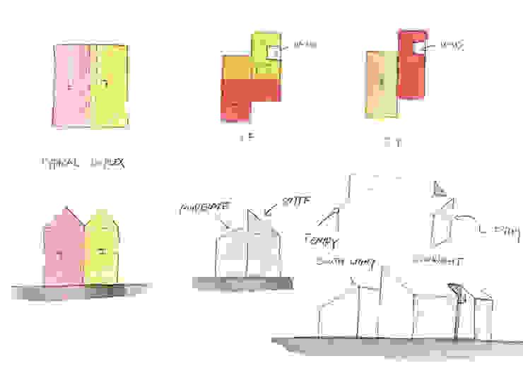 TIMBER DUPLEX 1 (중목구조 땅콩집 1): min workshop의 현대 ,모던