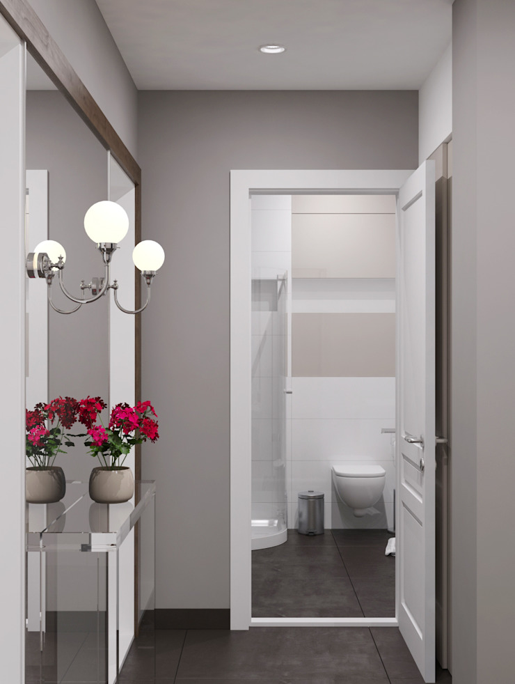 Ямно Коридор, прихожая и лестница в эклектичном стиле от Brama Architects Эклектичный Керамика