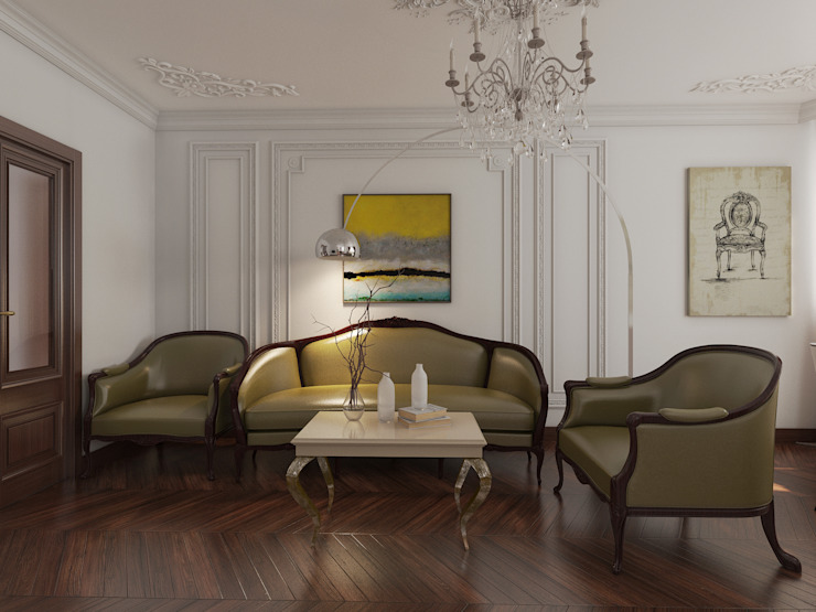 YES-designs Eclectic style living room White