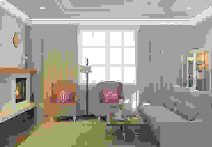 Салтыковка Гостиные в эклектичном стиле от Brama Architects Эклектичный Плитка