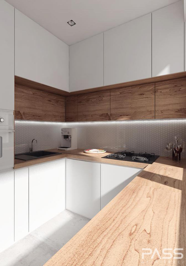 Projekt wnętrza w Białymstoku Nowoczesna kuchnia od PASS architekci Nowoczesny
