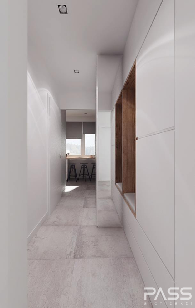 Projekt wnętrza w Białymstoku Nowoczesny korytarz, przedpokój i schody od PASS architekci Nowoczesny
