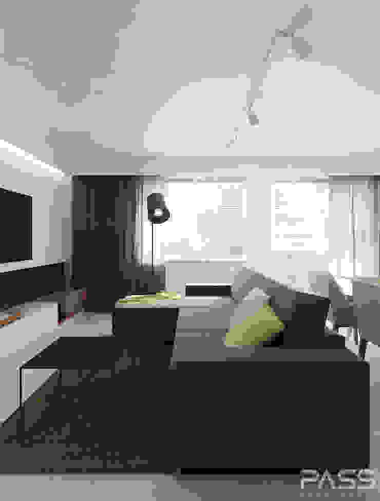 Projekt wnętrza w Warszawie /1 Nowoczesny salon od PASS architekci Nowoczesny