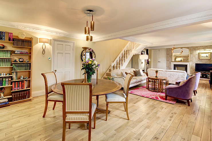 Zoning of living, dining and relaxing areas Livings de estilo rústico de Chameleon Designs Interiors Rústico